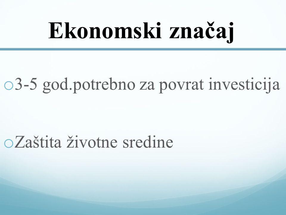 Ekonomski značaj o 3-5 god.potrebno za povrat investicija o Zaštita životne sredine