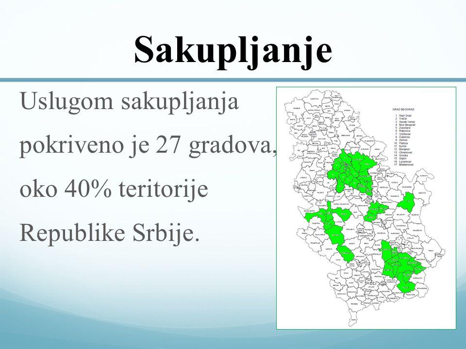 Uslugom sakupljanja pokriveno je 27 gradova, oko 40% teritorije Republike Srbije. Sakupljanje