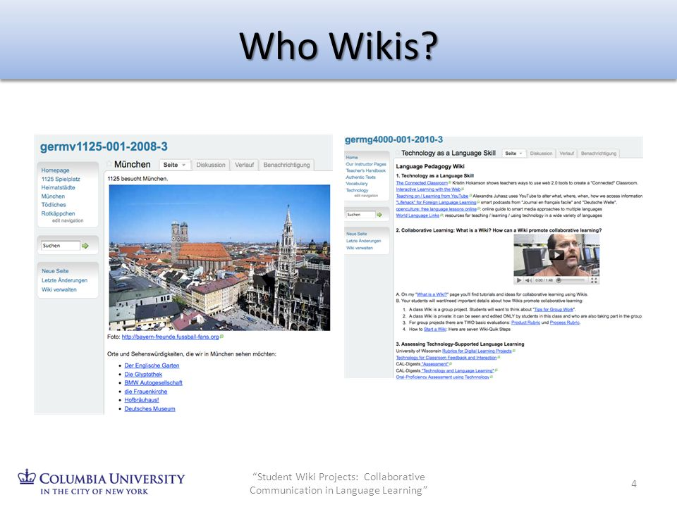 Who Wikis? 4 Student Wiki Projects: Collaborative Communication in Language Learning