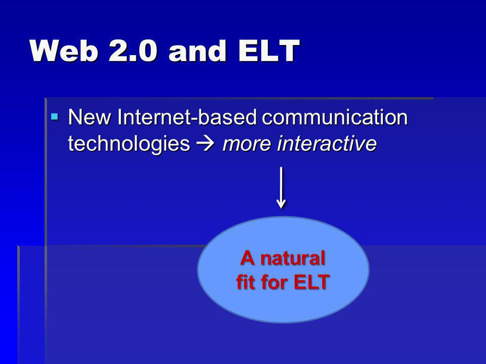 Web 2.0 and ELT New Internet-based communication technologies more interactive New Internet-based communication technologies more interactive A natural fit for ELT