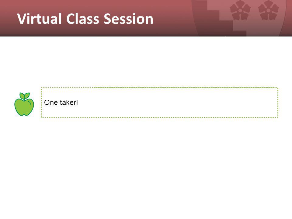 Virtual Class Session Three experienced users One taker!