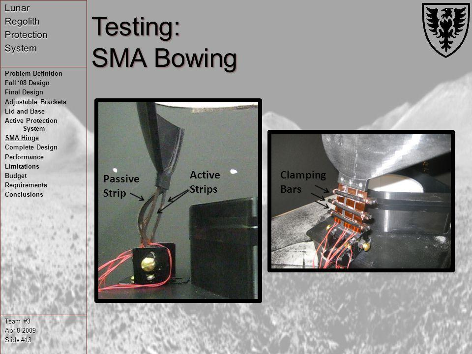 Testing: SMA Bowing Team #3 Apr 8 2009 Slide #13 Problem Definition Fall 08 Design Final Design Adjustable Brackets Lid and Base Active Protection Sys