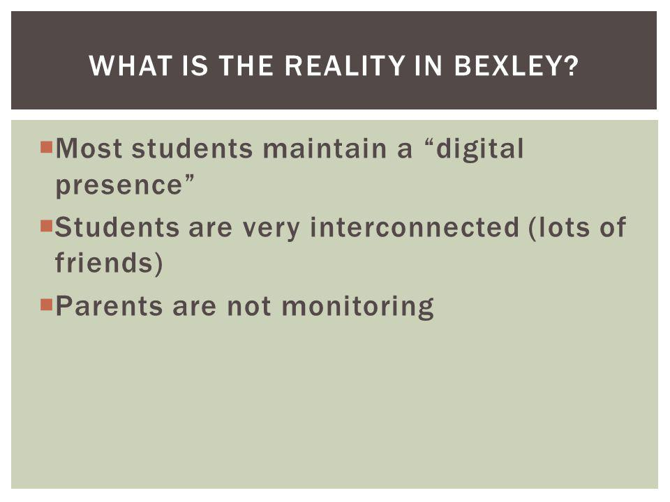 Most students maintain a digital presence Students are very interconnected (lots of friends) Parents are not monitoring WHAT IS THE REALITY IN BEXLEY?