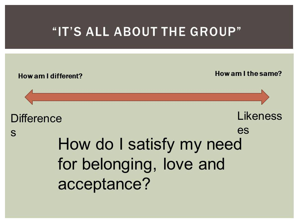 ITS ALL ABOUT THE GROUP Difference s Likeness es How do I satisfy my need for belonging, love and acceptance.