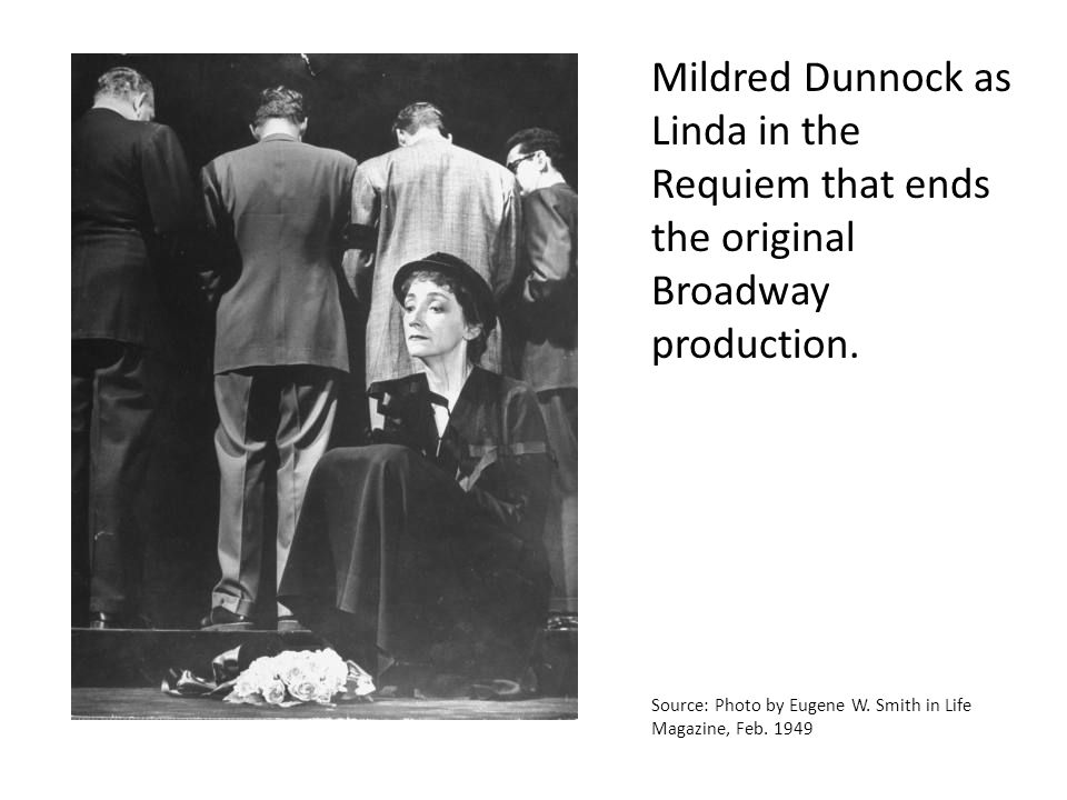 Mildred Dunnock as Linda in the Requiem that ends the original Broadway production. Source: Photo by Eugene W. Smith in Life Magazine, Feb. 1949