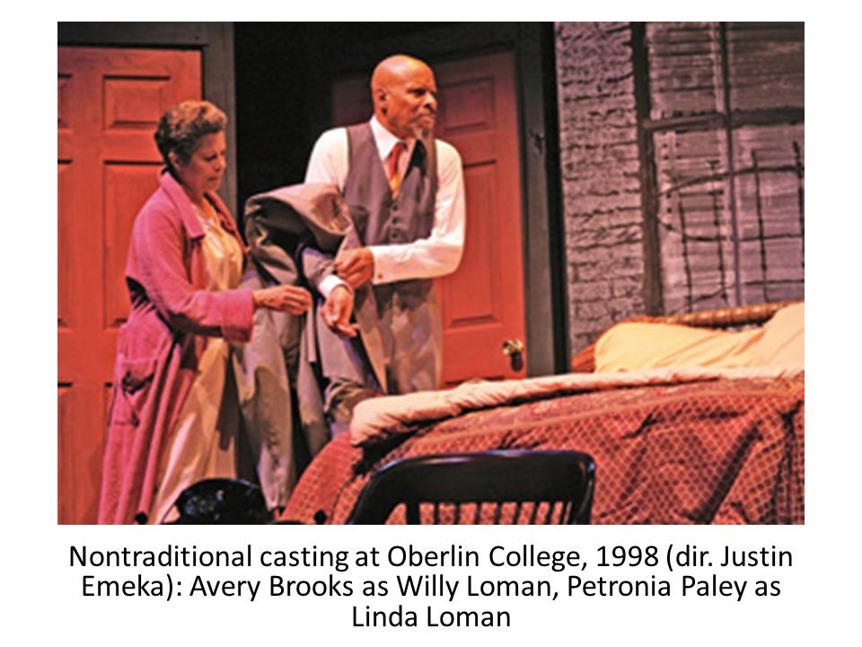 Nontraditional casting at Oberlin College, 1998 (dir. Justin Emeka): Avery Brooks as Willy Loman, Petronia Paley as Linda Loman Source: moviemail.onli