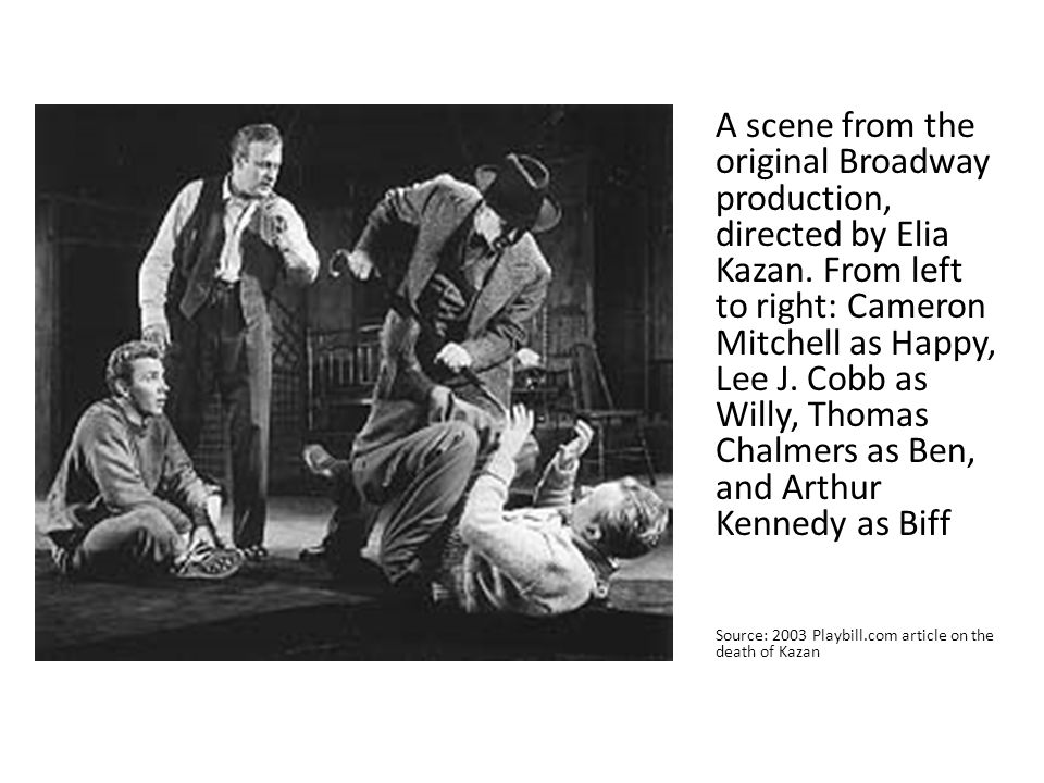 A scene from the original Broadway production, directed by Elia Kazan. From left to right: Cameron Mitchell as Happy, Lee J. Cobb as Willy, Thomas Cha