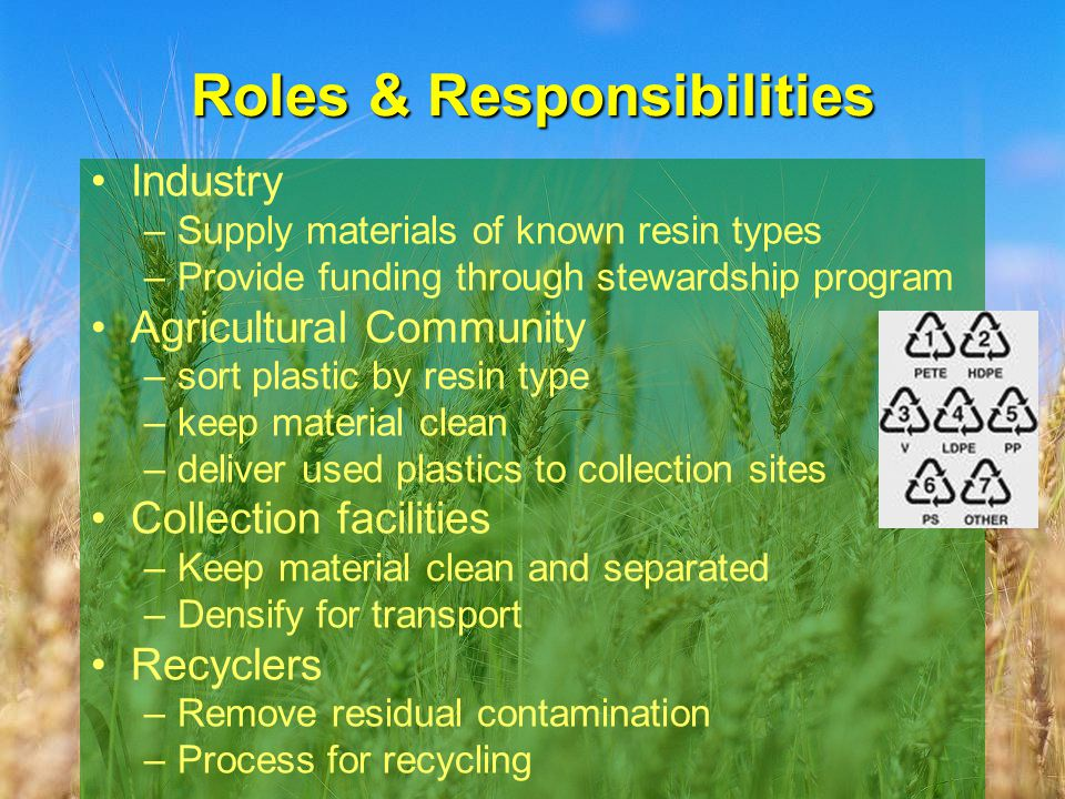 Roles & Responsibilities Industry –Supply materials of known resin types –Provide funding through stewardship program Agricultural Community –sort plastic by resin type –keep material clean –deliver used plastics to collection sites Collection facilities –Keep material clean and separated –Densify for transport Recyclers –Remove residual contamination –Process for recycling