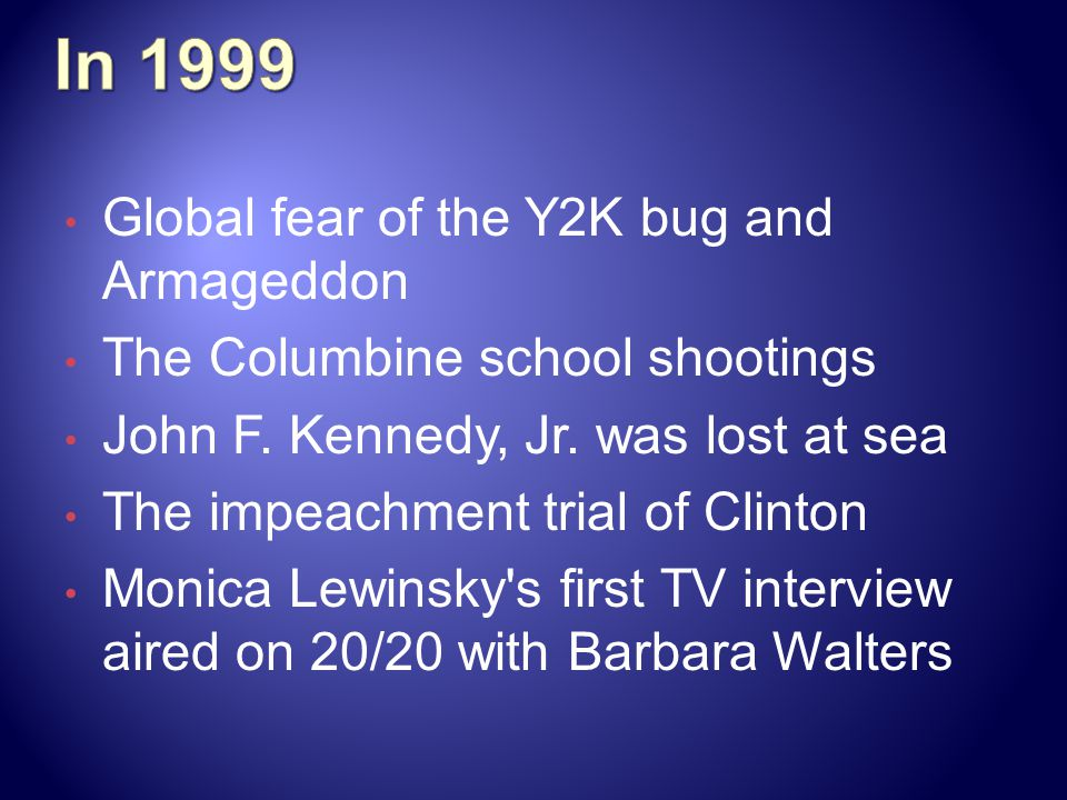Global fear of the Y2K bug and Armageddon The Columbine school shootings John F.