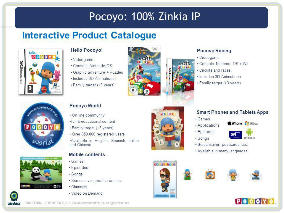 Interactive Product Catalogue Hello Pocoyo! Videogame Console: Nintendo DS Graphic adventure + Puzzles Includes 3D Animations Family target (+3 years)