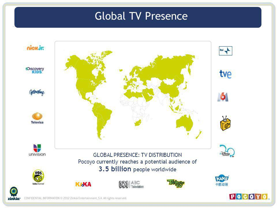 Global TV Presence GLOBAL PRESENCE: TV DISTRIBUTION Pocoyo currently reaches a potential audience of 3.5 billion people worldwide Global TV Presence