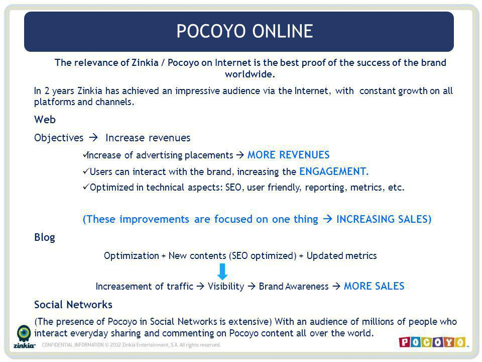 The relevance of Zinkia / Pocoyo on Internet is the best proof of the success of the brand worldwide. In 2 years Zinkia has achieved an impressive aud