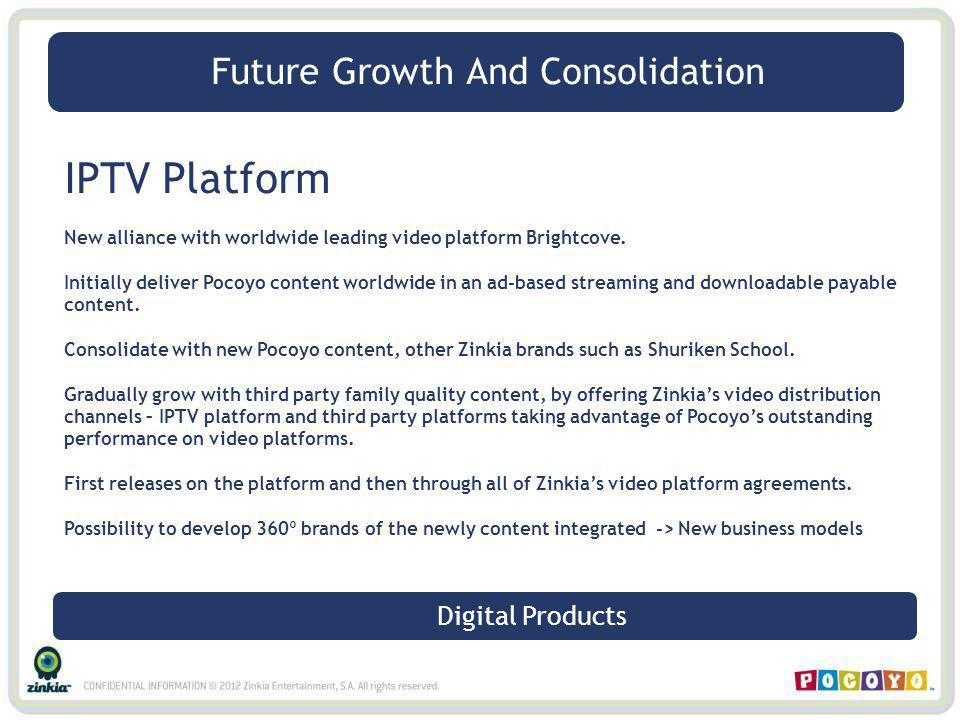 IPTV Platform New alliance with worldwide leading video platform Brightcove. Initially deliver Pocoyo content worldwide in an ad-based streaming and d