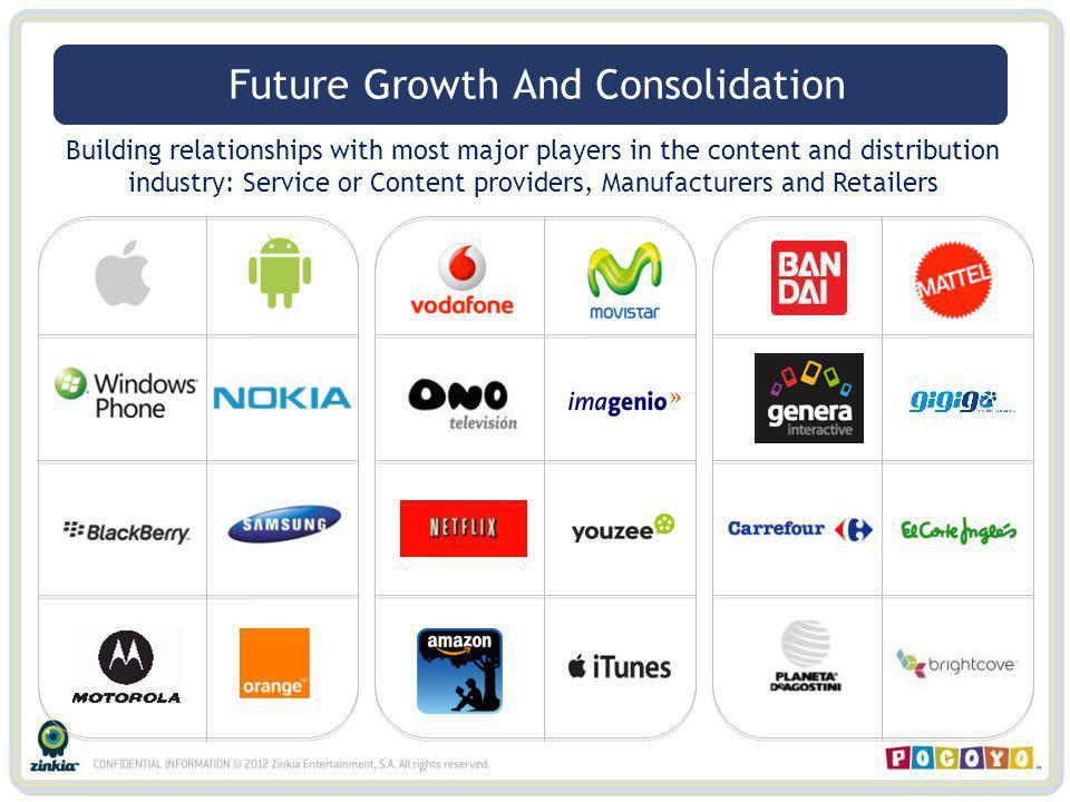 Building relationships with most major players in the content and distribution industry: Service or Content providers, Manufacturers and Retailers Partners – Distribution Future Growth And Consolidation
