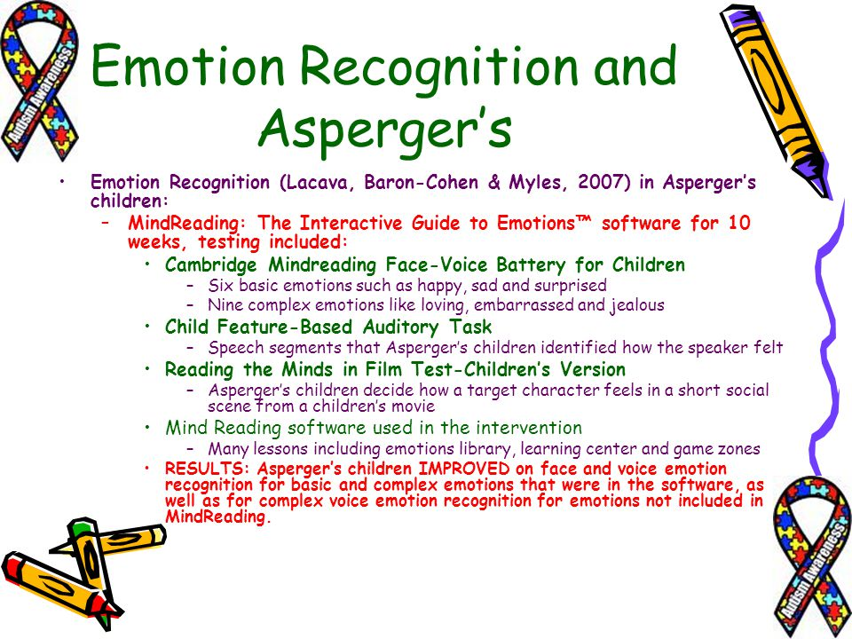 Emotion Recognition (Lacava, Baron-Cohen & Myles, 2007) in Aspergers children: –MindReading: The Interactive Guide to Emotions software for 10 weeks,