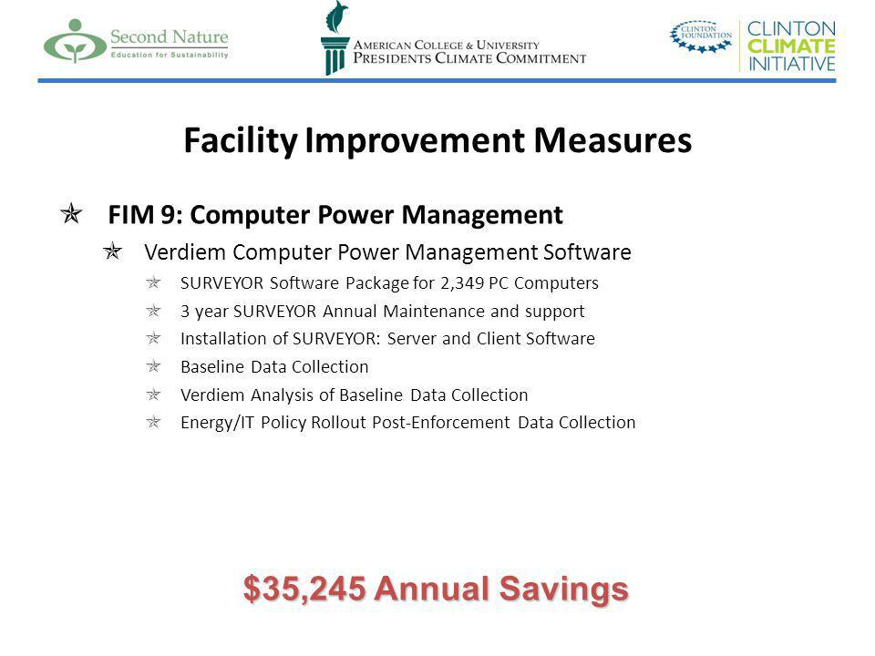 Facility Improvement Measures FIM 9: Computer Power Management Verdiem Computer Power Management Software SURVEYOR Software Package for 2,349 PC Computers 3 year SURVEYOR Annual Maintenance and support Installation of SURVEYOR: Server and Client Software Baseline Data Collection Verdiem Analysis of Baseline Data Collection Energy/IT Policy Rollout Post-Enforcement Data Collection $35,245 Annual Savings