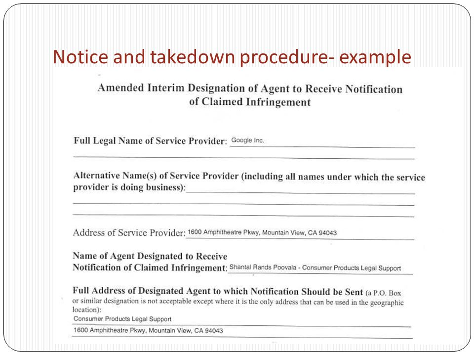 Notice and takedown procedure- example