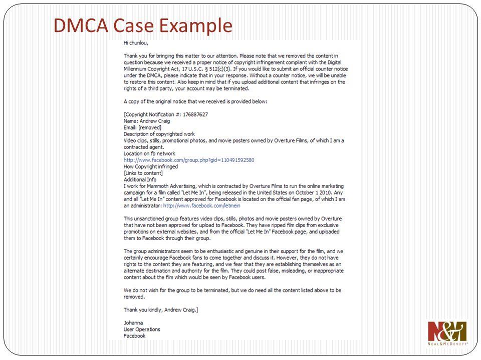 DMCA Case Example