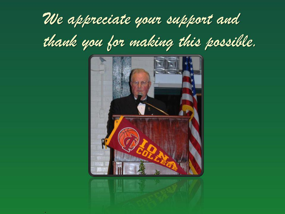 We appreciate your support and thank you for making this possible..