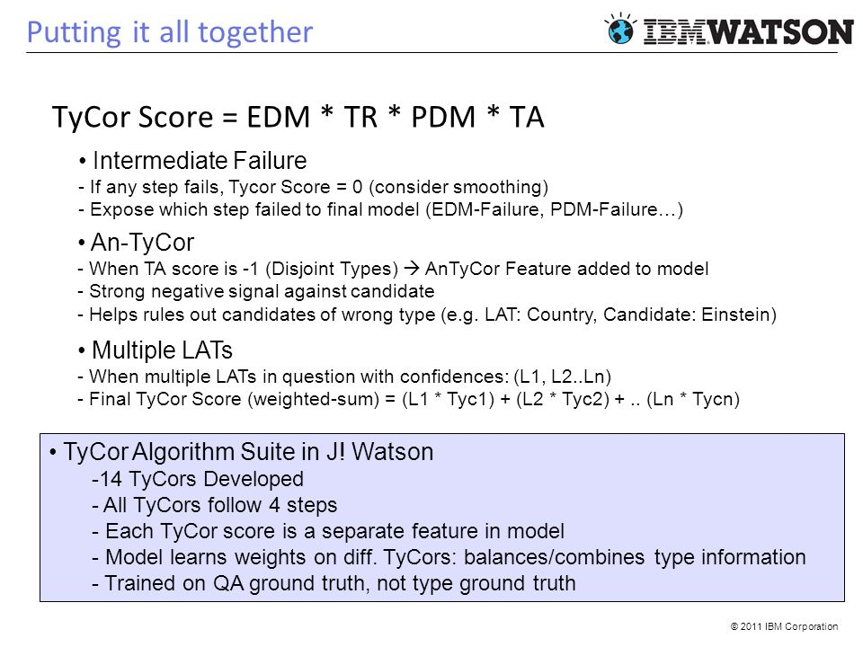 © 2011 IBM Corporation Putting it all together TyCor Score = EDM * TR * PDM * TA An-TyCor - When TA score is -1 (Disjoint Types) AnTyCor Feature added to model - Strong negative signal against candidate - Helps rules out candidates of wrong type (e.g.