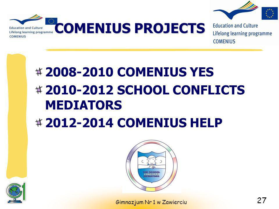 COMENIUS PROJECTS 2008-2010 COMENIUS YES 2010-2012 SCHOOL CONFLICTS MEDIATORS 2012-2014 COMENIUS HELP Gimnazjum Nr 1 w Zawierciu 27