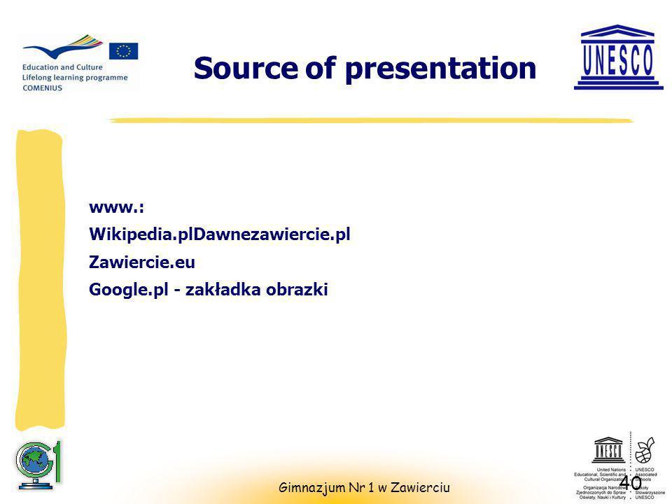Source of presentation www.: Wikipedia.plDawnezawiercie.pl Zawiercie.eu Google.pl - zakładka obrazki 40 Gimnazjum Nr 1 w Zawierciu