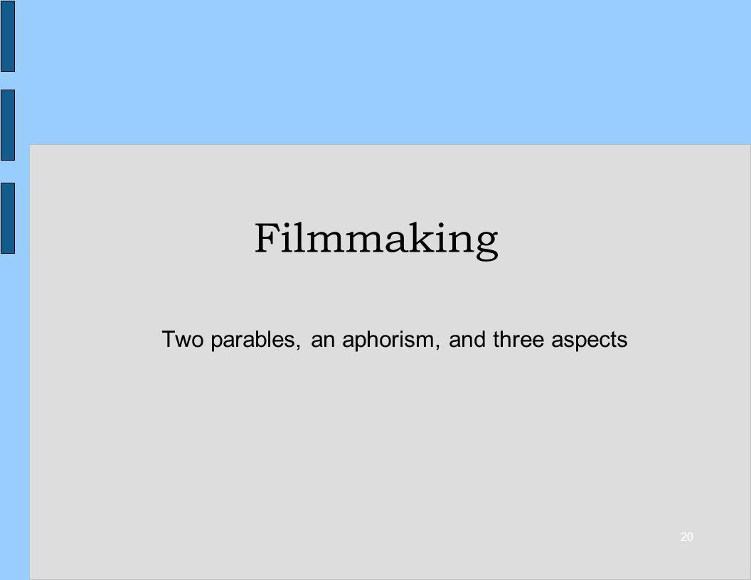 20 Filmmaking Two parables, an aphorism, and three aspects