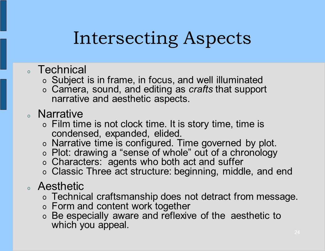 24 Intersecting Aspects o Technical o Subject is in frame, in focus, and well illuminated o Camera, sound, and editing as crafts that support narrative and aesthetic aspects.
