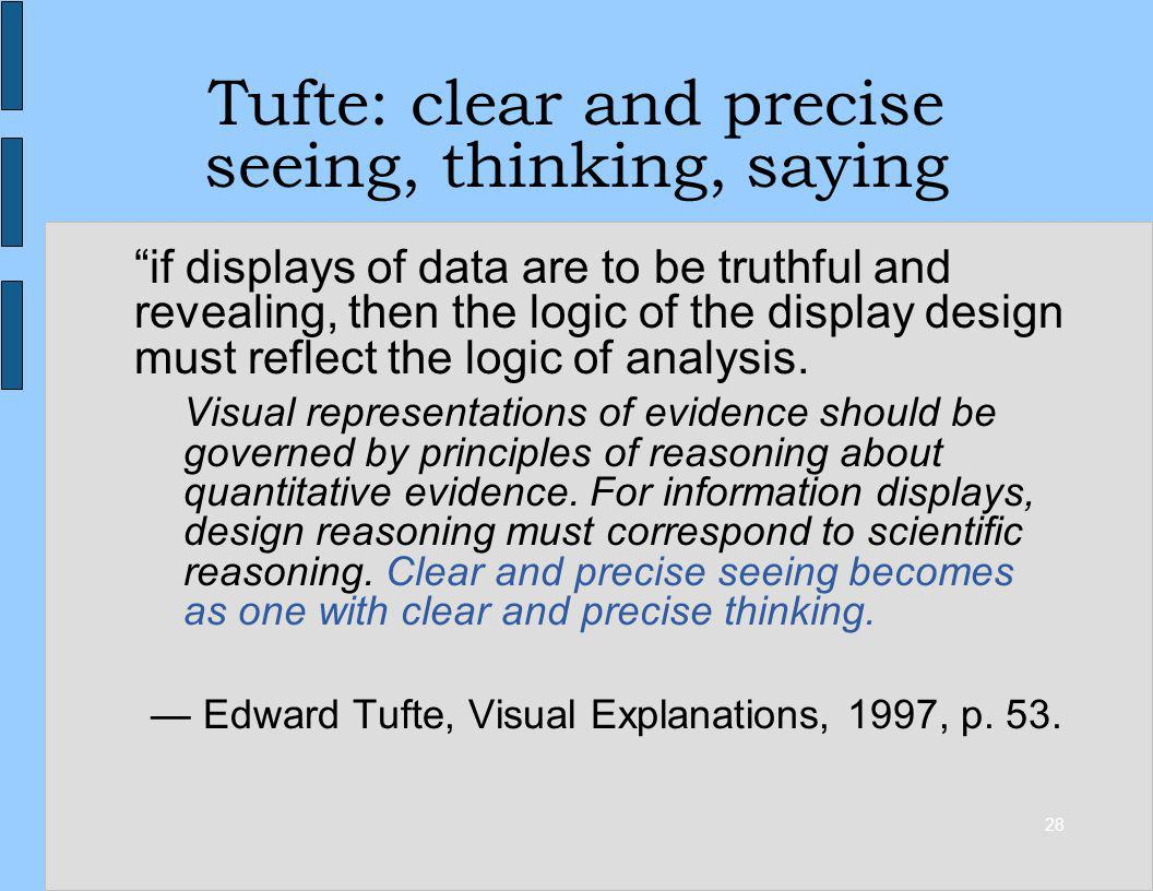 28 Tufte: clear and precise seeing, thinking, saying if displays of data are to be truthful and revealing, then the logic of the display design must r