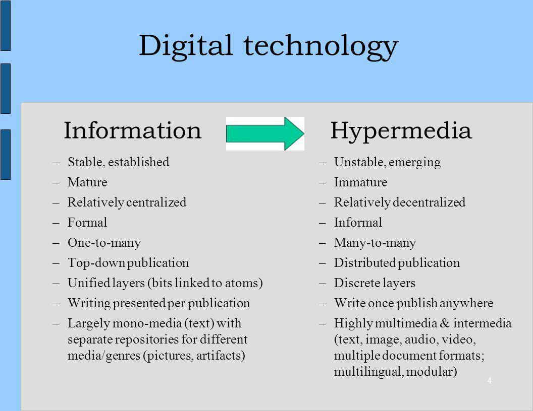 4 InformationHypermedia –Stable, established –Mature –Relatively centralized –Formal –One-to-many –Top-down publication –Unified layers (bits linked t