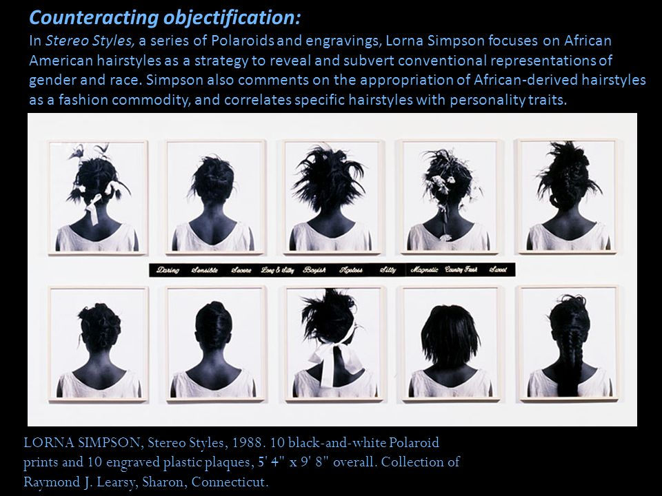LORNA SIMPSON, Stereo Styles, 1988. 10 black-and-white Polaroid prints and 10 engraved plastic plaques, 5' 4