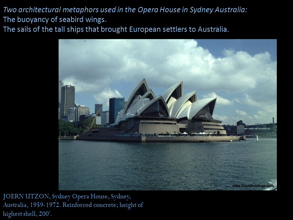 JOERN UTZON, Sydney Opera House, Sydney, Australia, 1959-1972. Reinforced concrete; height of highest shell, 200'. Two architectural metaphors used in