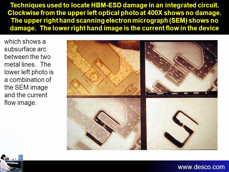 Techniques used to locate HBM-ESD damage in an integrated circuit. Clockwise from the upper left optical photo at 400X shows no damage. The upper righ