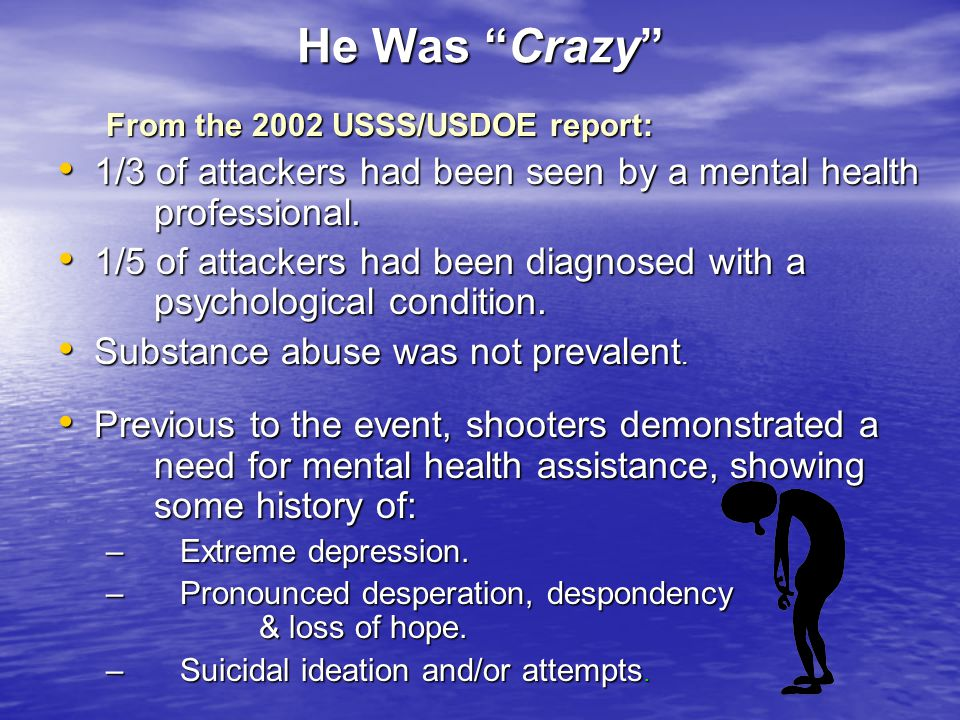He Was Crazy From the 2002 USSS/USDOE report: 1/3 of attackers had been seen by a mental health professional. 1/3 of attackers had been seen by a ment
