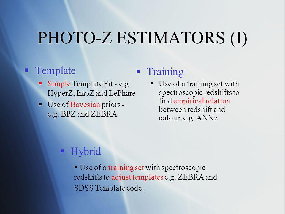 PHOTO-Z ESTIMATORS (II) CODEMETHODREFERENCE HyperZTemplateBolzonella et al.