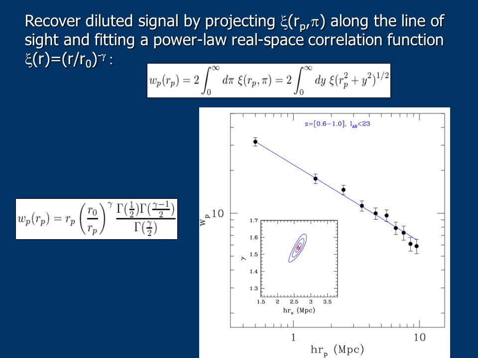 Recover diluted signal by projecting (r p, ) along the line of sight and fitting a power-law real-space correlation function (r)=(r/r 0 ) - Recover di