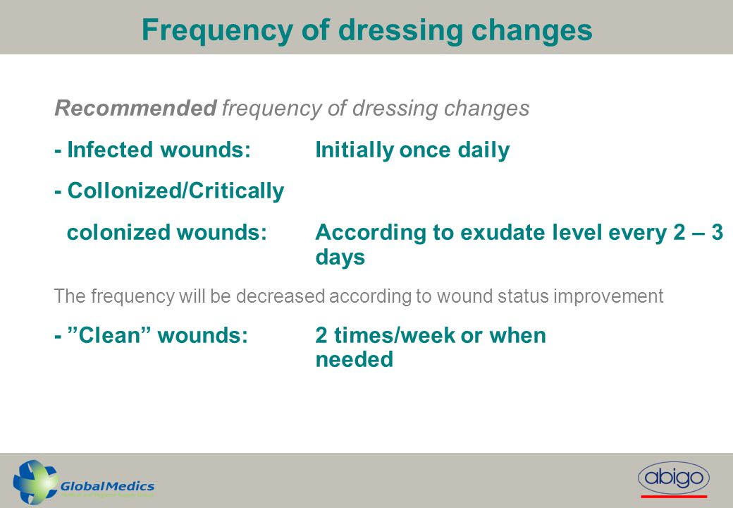 Frequency of dressing changes Recommended frequency of dressing changes - Infected wounds:Initially once daily - Collonized/Critically colonized wound