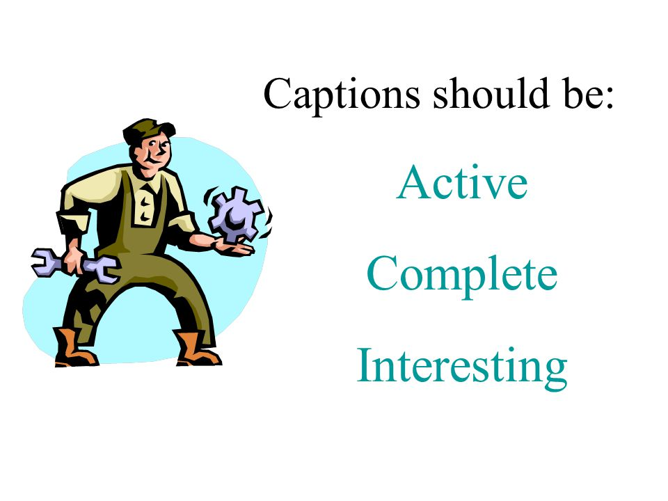 Captions should be: Active Complete Interesting