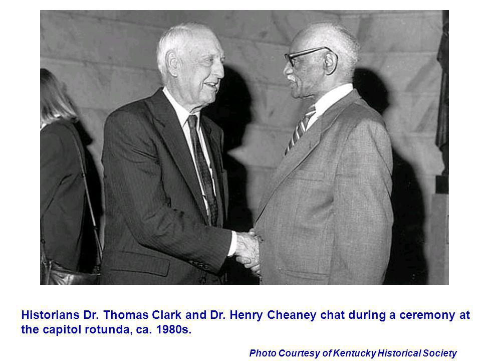 Photo Courtesy of Kentucky Historical Society Historians Dr. Thomas Clark and Dr. Henry Cheaney chat during a ceremony at the capitol rotunda, ca. 198