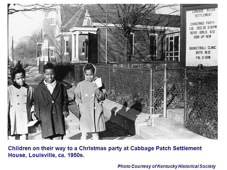 Photo Courtesy of Kentucky Historical Society Children on their way to a Christmas party at Cabbage Patch Settlement House, Louisville, ca. 1950s.