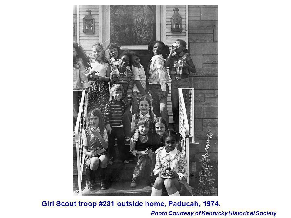 Photo Courtesy of Kentucky Historical Society Girl Scout troop #231 outside home, Paducah, 1974.