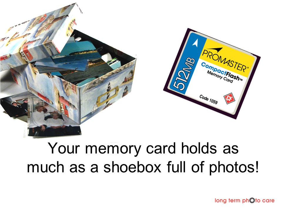 Your memory card holds as much as a shoebox full of photos!