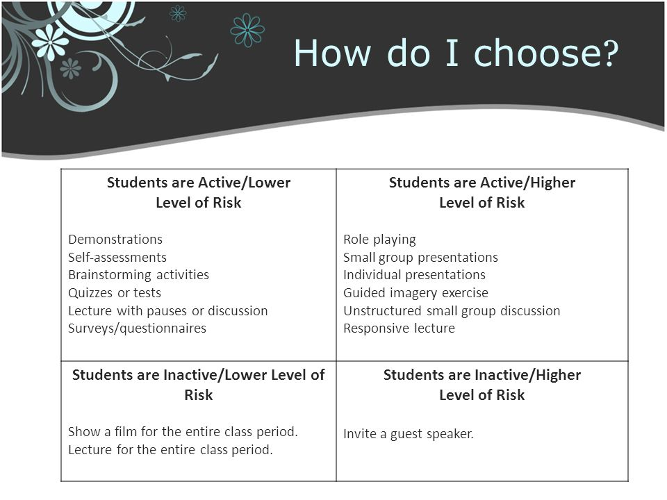 How do I choose ? Students are Active/Lower Level of Risk Demonstrations Self-assessments Brainstorming activities Quizzes or tests Lecture with pause