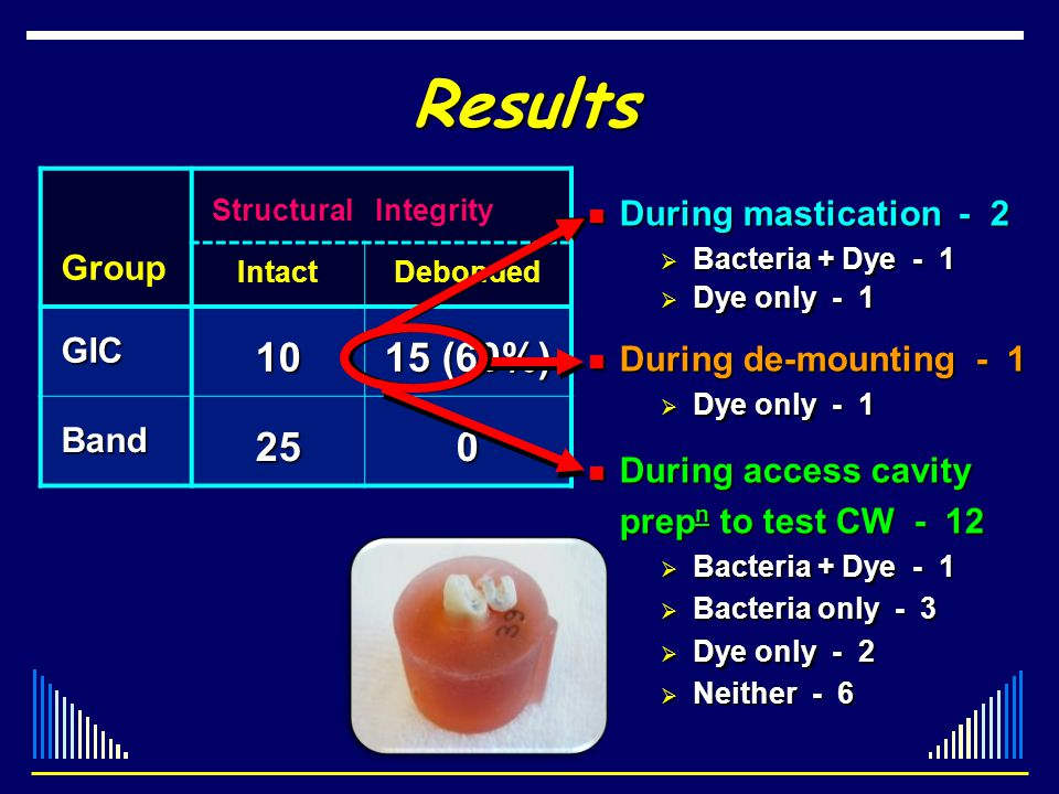 Results StructuralIntegrity Group IntactDebonded GIC GIC10 15 (60%) Band Band250 During mastication - 2 During mastication - 2 Bacteria + Dye - 1 Bact