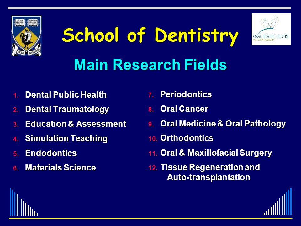 School of Dentistry 1. Dental Public Health 2. Dental Traumatology 3. Education & Assessment 4. Simulation Teaching 5. Endodontics 6. Materials Scienc
