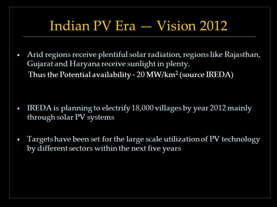 Indian PV Era Vision 2012 Arid regions receive plentiful solar radiation, regions like Rajasthan, Gujarat and Haryana receive sunlight in plenty.