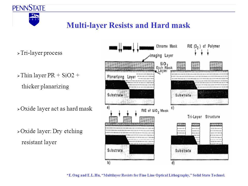 Multi-layer Resists and Hard mask Tri-layer process Thin layer PR + SiO2 + thicker planarizing Oxide layer act as hard mask Oxide layer: Dry etching r
