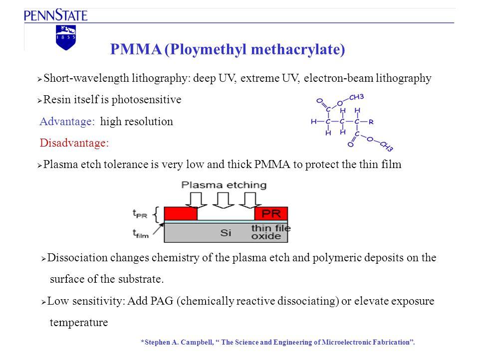 PMMA (Ploymethyl methacrylate) Short-wavelength lithography: deep UV, extreme UV, electron-beam lithography Resin itself is photosensitive Advantage:
