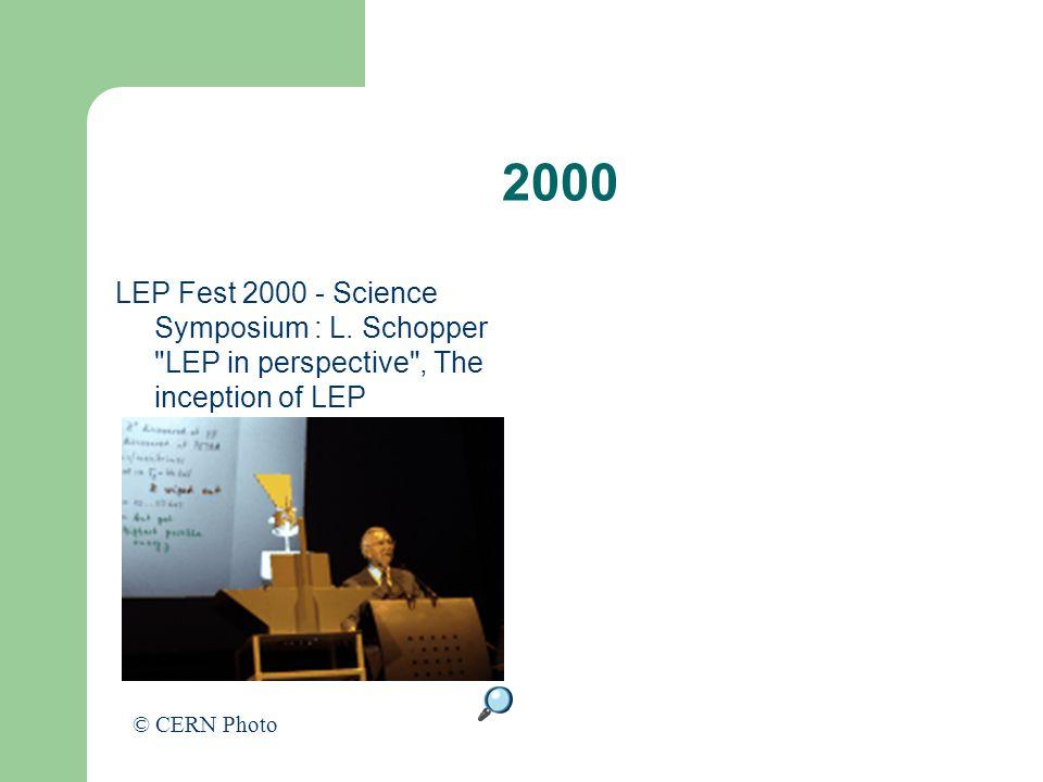 2000 LEP Fest 2000 - Science Symposium : L. Schopper