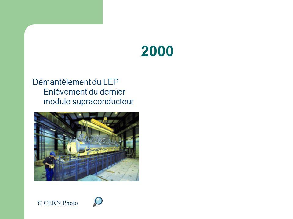 2000 Démantèlement du LEP Enlèvement du dernier module supraconducteur © CERN Photo